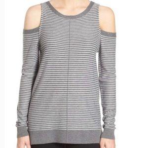 Trouve Striped Cold Shoulder Sweater